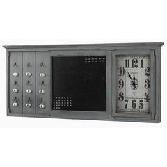 Linton Clock, Aged Blue Gray Finish with Brown Undertones, Under Glass