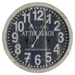 Cooper Classics Greenwich Clock, Aged Cream Finish with a Warm Blue Face, Under Glass