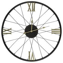 Dedon Clock, Black Finish with Gold Numbers