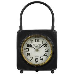Colfax Table Clock, Worn Black Finish with Gold Highlights, Under Glass