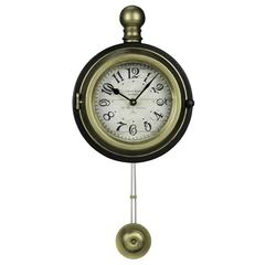 Harmen Wall Clock, Gold Finish with a Black Outer Rim, Under Glass
