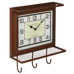 Griffon Wall Clock, Worn Red Finish with Gray Undertones, Under Glass