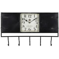 Cooper Classics Norwood Clock, Black Metal Finish with Worn Black Undertones, Under Glass, Opening Doors on Each Side