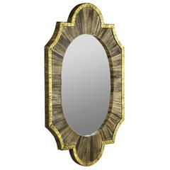 Cooper Classics Kerney Mirror, Natural Brown Woven Water Hyacinth with Distressed Gold Accents