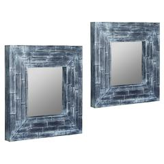 Cooper Classics Pinon Mirror- Set of 2, Blue Washed Coconut Leaf Finish