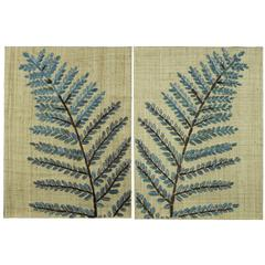 Dellwood Wall Hangings- Set of 2, Natural Burlap Embellished with Turquoise, Brown and Silver Raffia Accents