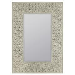 Cooper Classics Ashley Mirror, Cream Finish with Rose Highlights, Beveled Mirror