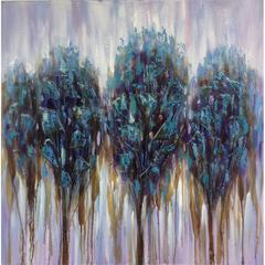 Cooper Classics Shattered Forest, Hand Painted, Acrylic on Canvas with Textured, High Gloss Glass Embellishments