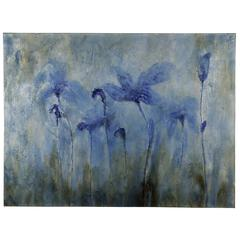 Blue Flowers, Hand Painted, High Gloss on Canvas
