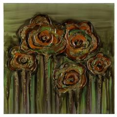 Abstract Poppies, Hand Painted, High Gloss Textural Paint on Canvas