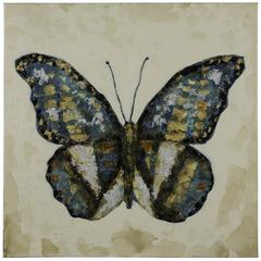 Shimmering Butterfly, Hand Painted, High Gloss on Subject, Textural Paint on Canvas