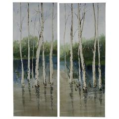 Forest in the Water- Set of 2, Hand Painted, Textural Paint on Canvas