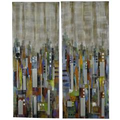 City Reflections- Set of 2, Hand Painted Textured with Mirrored Glass Embellishments