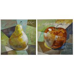 Fresh Fruit I- Set of 2, Hand Painted, Textured Paint on Canvas