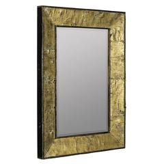 Zuma Mirror, Natural Tree Bark Finish with Gold Accents, Beveled Mirror, Finish will vary