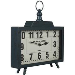 Kiho Table Clock, Distressed Teal Blue Finish with Bronze Undertones, Under Glass