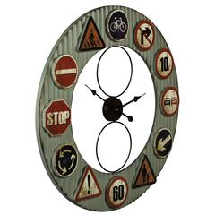 Cooper Classics Lewa Clock, Aged Gray Finish with Traffic Sign Accents