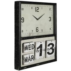 Lencho Clock, Distressed Black Metal Finish, Under Glass