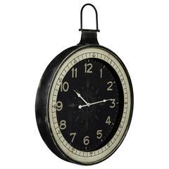 Zocha Clock, Distressed Black Finish, Under Glass
