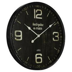 Cooper Classics Jedrak Clock, Aged Black Finish with Gray Undertones, Under Glass