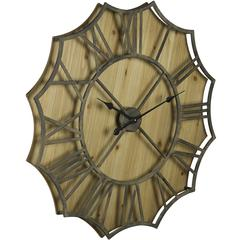 Cooper Classics Diallo Clock, Rustic Metal and Natural Wood Finish