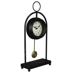 Oringo Table Clock, Aged Black Finish with Red Undertones, Under Glass