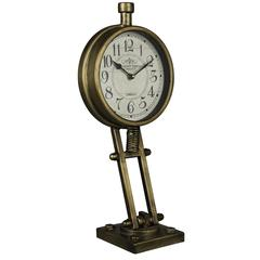 Kasia Table Clock, Antique Bronze Finish, Under Glass