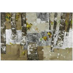 The Grove, Hand Painted, Textural Paint on Canvas with Natural Tree Bark Embellishments