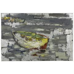 Boat II, Hand Painted, Textural Paint on Canvas