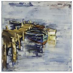Cooper Classics Boat I, Hand Painted, Textural Paint on Canvas