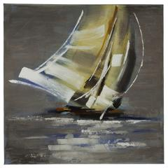 Cooper Classics Sail Boat II, Hand Painted, Textural Paint on Canvas