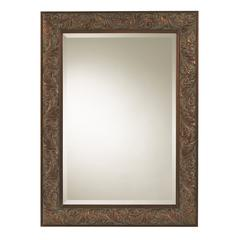 Joliet Mirror, Tarnished Copper Finish with Dusting, Beveled Mirror