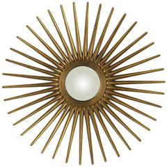 Cooper Classics Sunburst Mirror, Antique Gold Finish, Convex Mirror