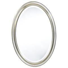 Cooper Classics Blake Oval Mirror, Aged Silver Finish, Beveled Mirror