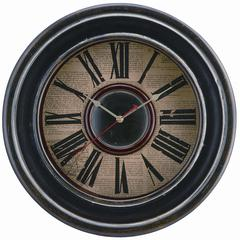 McKenna Clock, Distressed Black Finish, Under Glass
