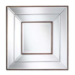Clarence Mirror, Frameless Mirror with Bronze Inner and Outer Lining, Beveled Mirror