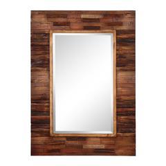 Blakely Mirror, Dark Natural Wood Finish, Beveled Mirror
