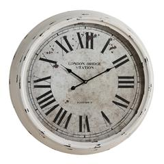 Daria Clock, Distressed White Finish, Under Glass