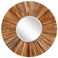 Berkley Mirror, Light Natural Rustic Wood Finish, Beveled Mirror