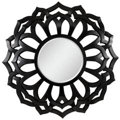 Covington Mirror, Glossy Black Finish, Beveled Mirror