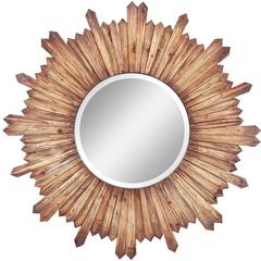 Catherine Mirror, Natural Rustic Wood Finish, Beveled Mirror