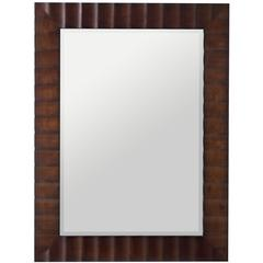 Savona Rectangular Mirror, Washed Brown Finish with Dark Brown Highlights, Beveled Mirror