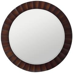 Savona Round Mirror, Washed Brown Finish with Dark Brown Highlights, Beveled Mirror
