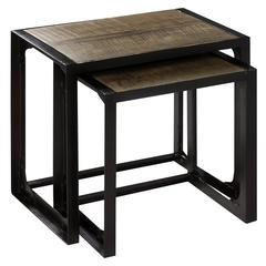 Laurens Nesting Tables, Natural Rustic Wood and Bronze Finish