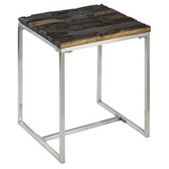 Riddler Side Table, Natural Rustic Wood and Shiny Nickel Finish