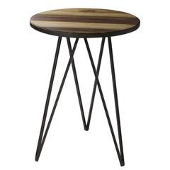 Cooper Classics Jayson Side Table, Natural Rustic Wood and Bronze Finish