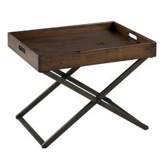Cooper Classics Perera Cocktail Table, Distressed Brown Finish, Removable Tray Top