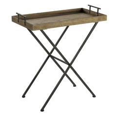 Wynne Tray Table, Natural Wood and Metal Finish