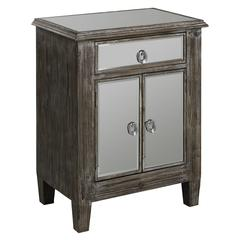 Aldan Side Table, Gray Driftwood Finish with Mirror Faced Drawer and Doors