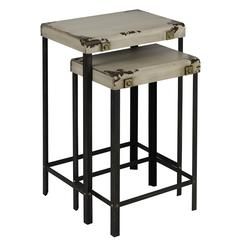 Cooper Classics Indus Nesting Tables, Distressed Cream Finish with Worn Rustic Edges and Black Legs
